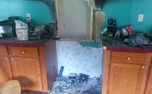 Fire Damage In Kitchen After A Grease Fire